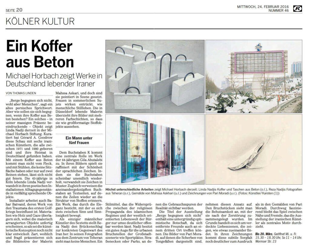 Rundschau Horbach Ausstellung Kölner Kultur 24.02.2016